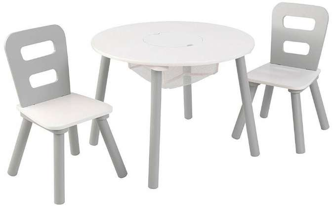 barn strøm bord og stoler sitt Bordstoler satt grå og hvit